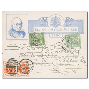 1890 Penny Post Jubilee Card 1/2d Jubilee Pair KEVII & 1/2d Downey