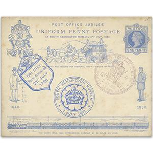 1890 Penny Postage Jubilee pre-paid envelope - 5 South Kensington handstamps
