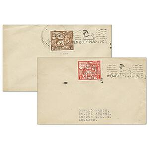 1925 Exhibition on 2 Covers - Wembley Park 1925 Cancellation