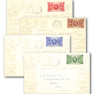 1935 Silver Jubilee set 4 illust. covers to U.S.A
