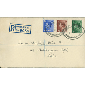 1936 Edward VIII 1/2d - 2 1/2d Buckingham Gate Cancellation