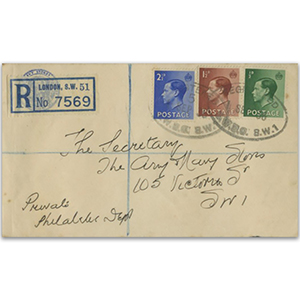 1936 Edward VIII 1/2d - 2 1/2d, London SW1 cancel