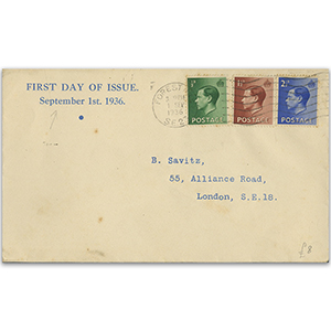 1936 Edward VIII 1/2d - 2 1/2d, Forest Wavy line cancel