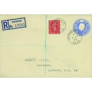 1950 4d Postal Stationary Norwood Registered Cover