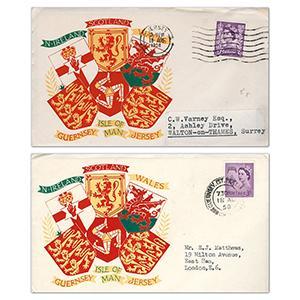 1958 Jersey & Guernsey 3d F.D.C - Pair