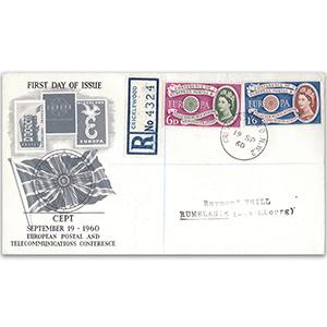 1960 Europa - Cricklewood CDS on Registered Illustrated Cover