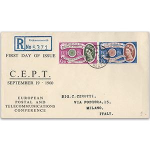 1960 Europa - Rickmansworth counter date stamp on registered cover