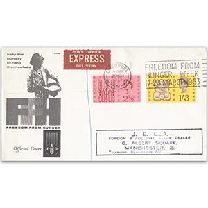 1963 Freedom From Hunger - Liverpool Special Slogan - Phosphor FDC