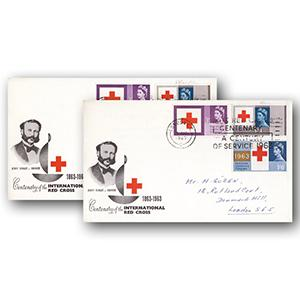 1963 Red Cross Ordinary & Phosphor Pair of Illustrated Covers - Red Cross Centenary slogan