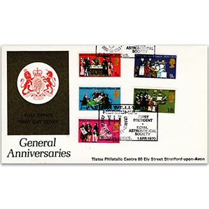 1970 General Anniversaries - Sir William Herschel Slough handstamp