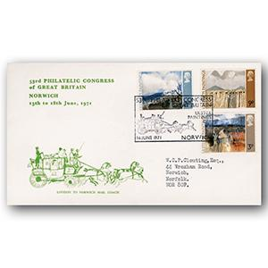 1971 Ulster Paintings - Norwich Philatelic Congress handstamp - GREEN Cover Version
