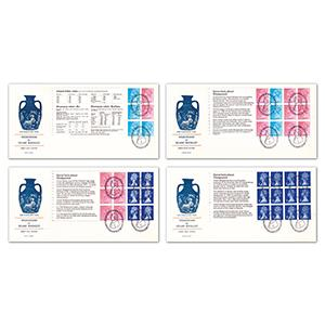 1972 Wedgwood booklet panes on 4 covers - Barlaston Staffs handstamps