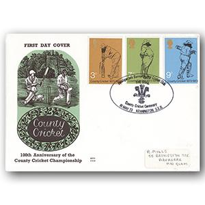 1973 County Cricket - The Oval handstamp