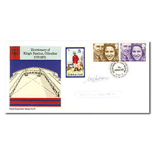 1973 Royal Wedding - King's Bastion, Gibraltar handstamp - Signed by M. Adams