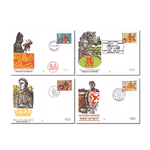 1974 Medieval Warriors - Set of 4 - Different Handstamps