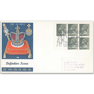 1974 35p booklet single pane - London WC2 handstamp