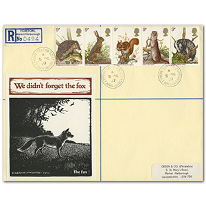 1977 British Wildlife, Foxton cds on registered envelope