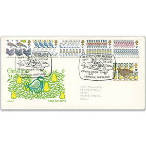 1977 Christmas, 1st Mail Flight to Shetland,Typed Address