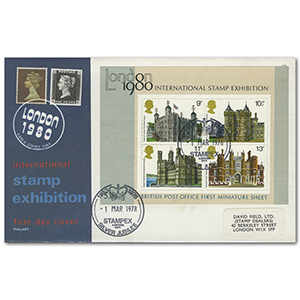 1978 Buildings M/S - Stampex official - London handstamp
