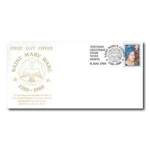1980 Queen Mother - St. Mary Ware - Saint Mary's Church Handstamp