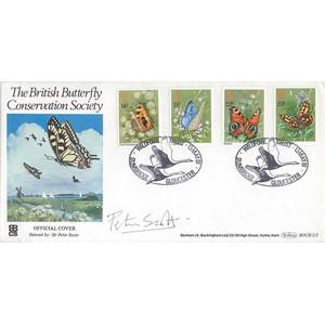 1981 Butterflies - Wildfowl Trust handstamp - Signed by Peter Scott