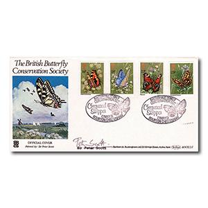 1981 Butterflies Official - Bourton Handstamp - Signed by Peter Scott