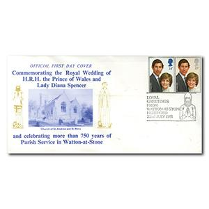1981 Royal Wedding - Watton Church - Watton-At-Stone handstamp