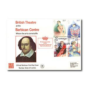 1982 Theatre - Barbican Centre Official - Barbican Theatre EC2 Handstamp