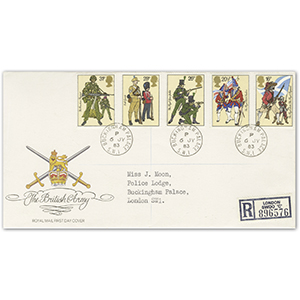 1983 Army, Royal Mail cover, Buckingham Palace cds