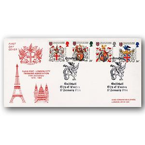 1984 Heraldry - London City Twining Association - Guildhall, London Handstamp