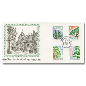 1990 Kew Gardens - Bradbury - Church in the Wood handstamp