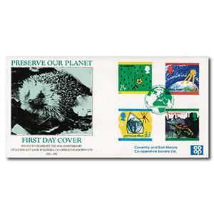 1992 Green Issue - Bradbury Official - Preserve Our Planet Handstamp