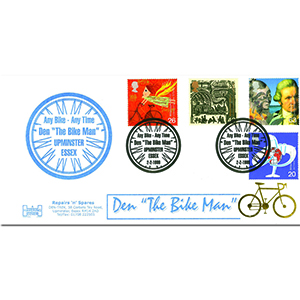 "1999 Travellers - Havering Official - Den ""The Bike Man"" handstamp"
