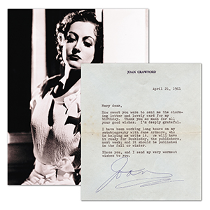 Joan Crawford - Signed Typed Letter with Black and White Photograph