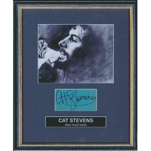 Cat Stevens - Autograph - Signature Mounted with Black and White Photogrpah Framed