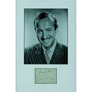 David Niven - Signature Mounted with Black and White Photograph - Framed