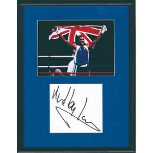 Audley Harrison - Autograph - Signature Mounted Black and White Photograph - Framed