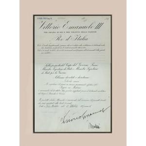 Mussolini & Emanual III Signatures - Framed