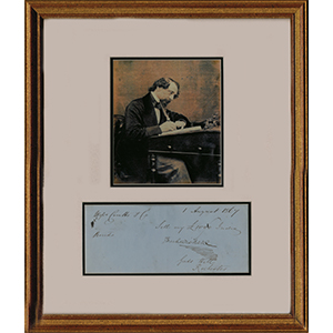 Charles Dickens Signature - Black & White Photograph with Signature - Framed