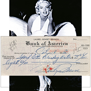 Marilyn Monroe Signed Bank of America Cheque - Dated 18th October 1950