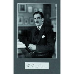 Anthony Eden - Autograph - Signature Mounted with Black and White Photograph