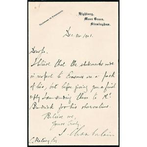 Joseph Chamberlain Signed Handwritten Letter