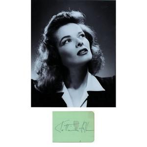 Katharine Hepburn - Autograph - Signature with Black and White Photograph