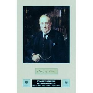 Stanley Baldwin - Signature - Mounted with a Colour Portrait - Framed