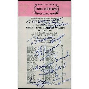 Harold Wilson Signed Foyles Luncheon Programme - 1964