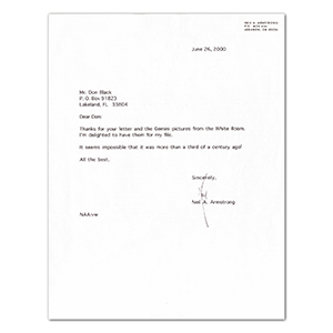 Neil Armstrong Autograph - Signed Typed Letter