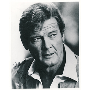 Roger Moore Signed Black and White Photograph