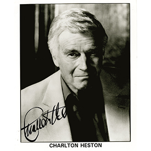 Charlton Heston - Autograph - Signed Black and White Photograph