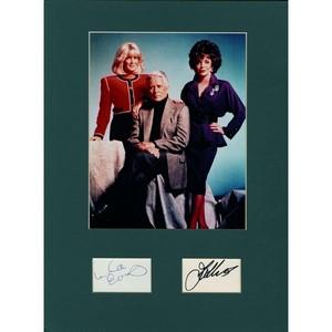 Linda Evans & Joan Collins  -  Autograph - Signature Mounted with Colour Photograph