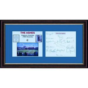 Ashes Test Captains 1982 Onwards -  Autograph - Signature Mounted with Colour Photograph